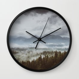 Misty mountains - Landscape and Nature Photography Wall Clock