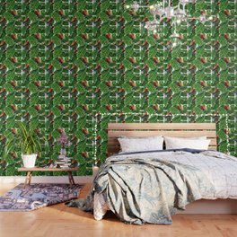 tropical leaves macaw pattern Wallpaper