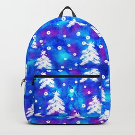 Watercolor Seamless pattern with hand drawn snowflakes and christmas tree . Backpack