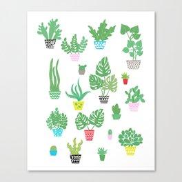 tiny happy house plants Canvas Print