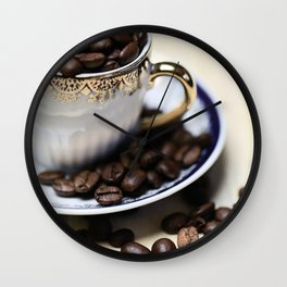 Coffee beans in the old cappuccino cup Wall Clock