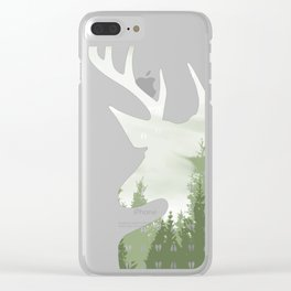 Green Deer Abstract Footprints Landscape Design Clear iPhone Case