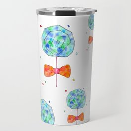 Color Your Life candy illustration sweets pattern food sky blue orange kitchen watercolor painting Travel Mug