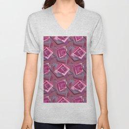 Unravelled Pink and Grey Unisex V-Neck