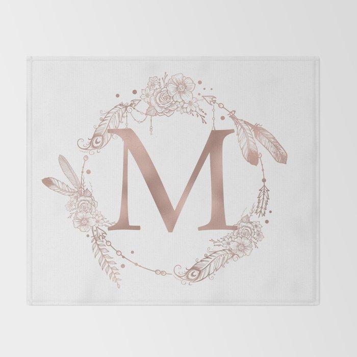 Letter M Rose Gold Pink Initial Monogram Throw Blanket