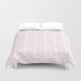 Handpainted Chevron pattern light pink stripes Duvet Cover