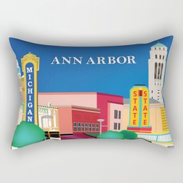 Ann Arbor, Michigan - Skyline Illustration by Loose Petals Rectangular Pillow