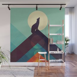 Howling Wild Wolf Wall Mural