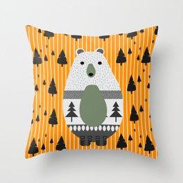 Cute bear, stripes and a fir forest Throw Pillow