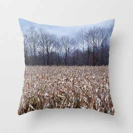 Field of Corn left Behind Throw Pillow