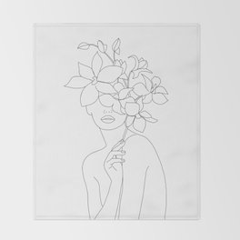 Minimal Line Art Woman with Orchids Throw Blanket