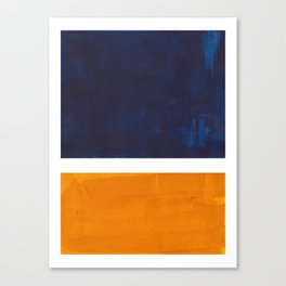 Navy Blue Yellow Ochre Abstract Minimalist Rothko Colorful Mid Century Color Block Pattern Canvas Print