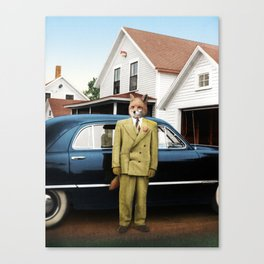 Mr. Fox posing with his new car Canvas Print