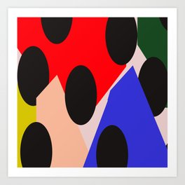 Black Mass Falling Over Colored Triangles Art Print