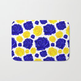 Blue and Yellow Rose Pattern Bath Mat