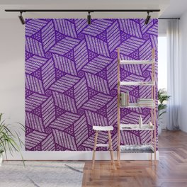 Japanese style wood carving pattern in purple Wall Mural