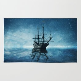 ghost ship blue reflection Rug