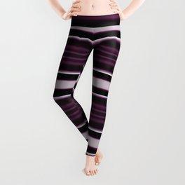 Elegant Bold Purple and Siver Stripes Leggings