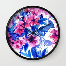 Floral Print Tropical Magenta Wall Clock