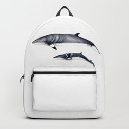 Minke whale with baby whale Backpack