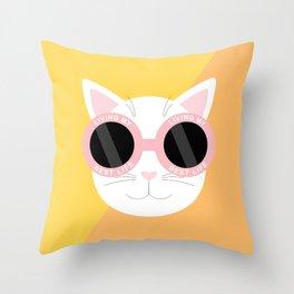 Living My Best Life - White Cat Throw Pillow