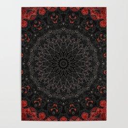 Red and Black Bohemian Mandala Design Poster