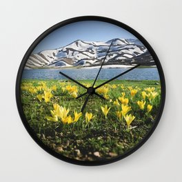 yellow flowers Wall Clock