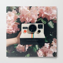 Polaroid & Flowers Metal Print