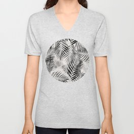 Palm Leaves - Black & White Unisex V-Neck