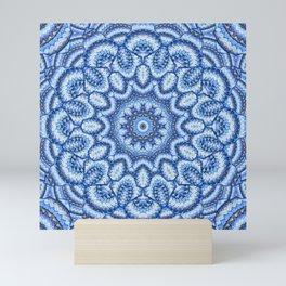 Blue knit kaleidoscope Mini Art Print