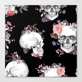 Day Of The Dead Floral Skulls Canvas Print