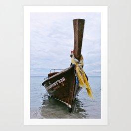 Longtail boat on the shore of Ao Nang, Thailand Art Print