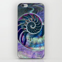 Iridescent Shell Snail Fossil iPhone Skin