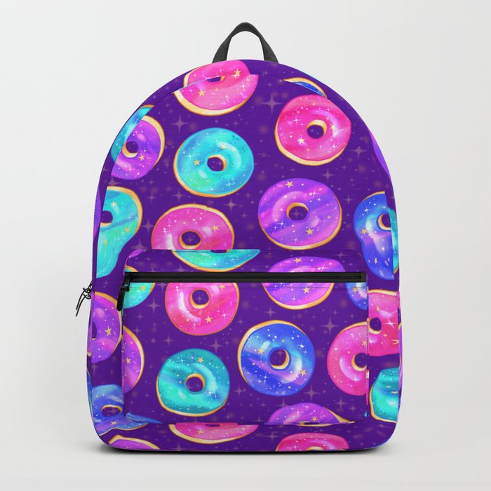 galaxy donuts on purple backpack by paisleydrawrs society6
