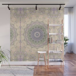 32 Wisteria Pine Loop -- Vintage Cream and Lavender Purple Mandala  Wall Mural