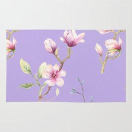 Magnolia Spring Pattern Lilac Background Rug