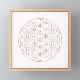 Mandala Rose Gold Flower of Life Framed Mini Art Print