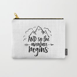 INSPIRATIONAL Quote,And So The Adventure Begins,Adventure Awaits,Kids Room Decor,Nursery Art Carry-All Pouch
