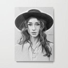 Troian Gray Sketch Metal Print