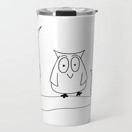 Three owls on a branch Travel Mug
