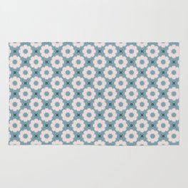 Daisy Pattern on Teal Rug