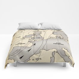 British Isles vintage weather map poster Comforters