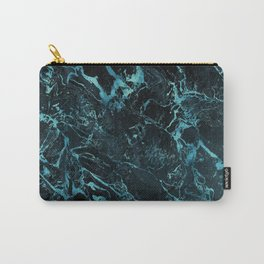 Black & Teal Color Marble Carry-All Pouch
