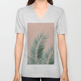 Soft Green Palm Leaves Dream - Cali Summer Vibes #1 #tropical #decor #art #society6 Unisex V-Neck