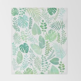 Green tropical leaves pattern Throw Blanket