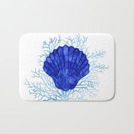 Seashell on coral - watercolors Bath Mat