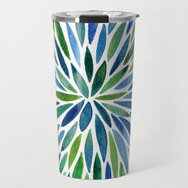 Watercolor Burst – Blue & Green Travel Mug
