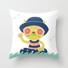 Cat Wave Throw Pillow