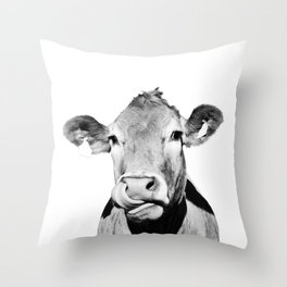 Cow photo - black and white Throw Pillow