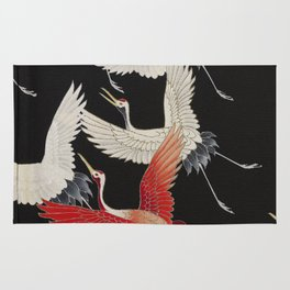 Furisode with a Myriad of Flying Cranes (Japan) Rug